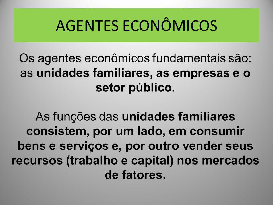 AGENTES ECONÔMICOS Os agentes econômicos fundamentais são: as unidades familiares, as empresas e o setor público.