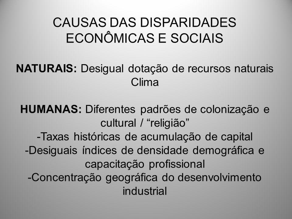 CAUSAS DAS DISPARIDADES ECONÔMICAS E SOCIAIS