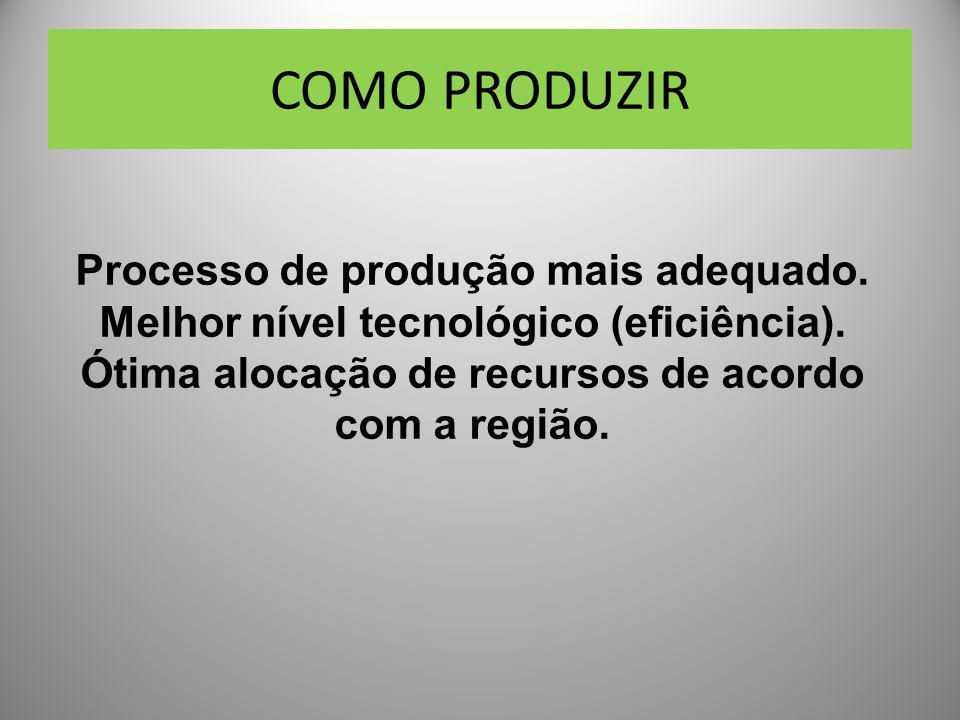 COMO PRODUZIR Processo de produção mais adequado.