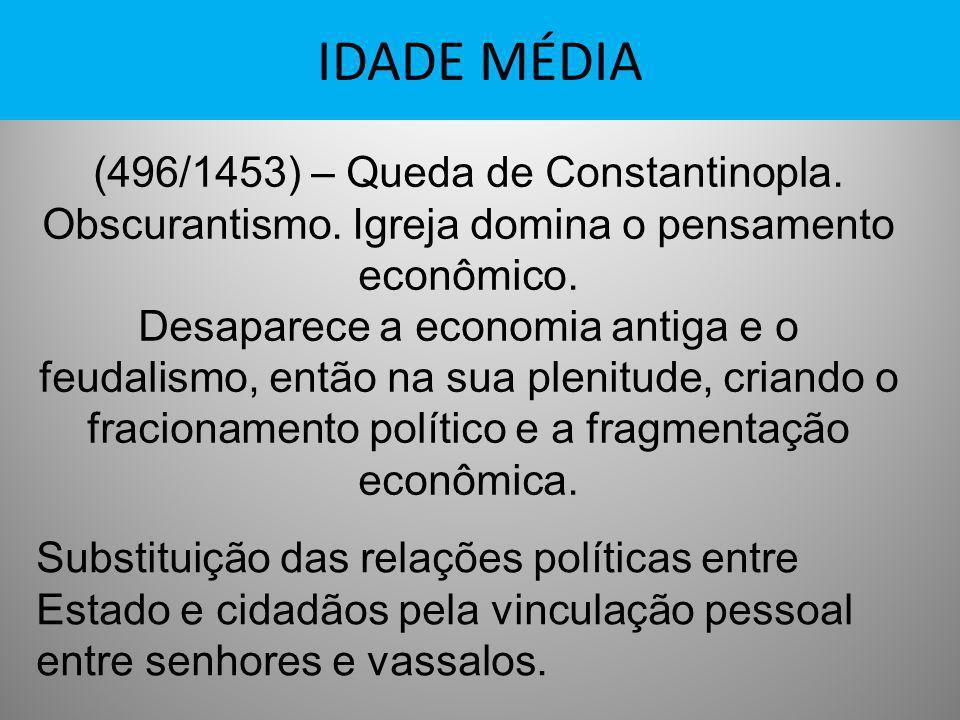 IDADE MÉDIA (496/1453) – Queda de Constantinopla. Obscurantismo. Igreja domina o pensamento econômico.