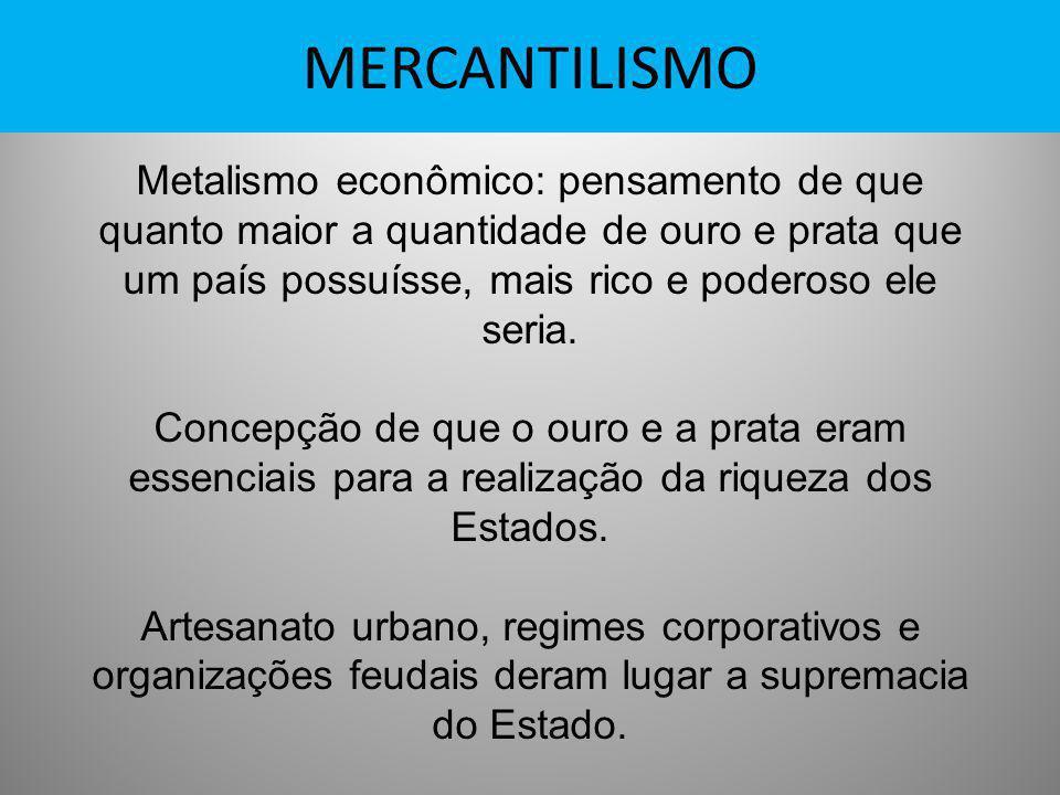 MERCANTILISMO Metalismo econômico: pensamento de que quanto maior a quantidade de ouro e prata que um país possuísse, mais rico e poderoso ele seria.