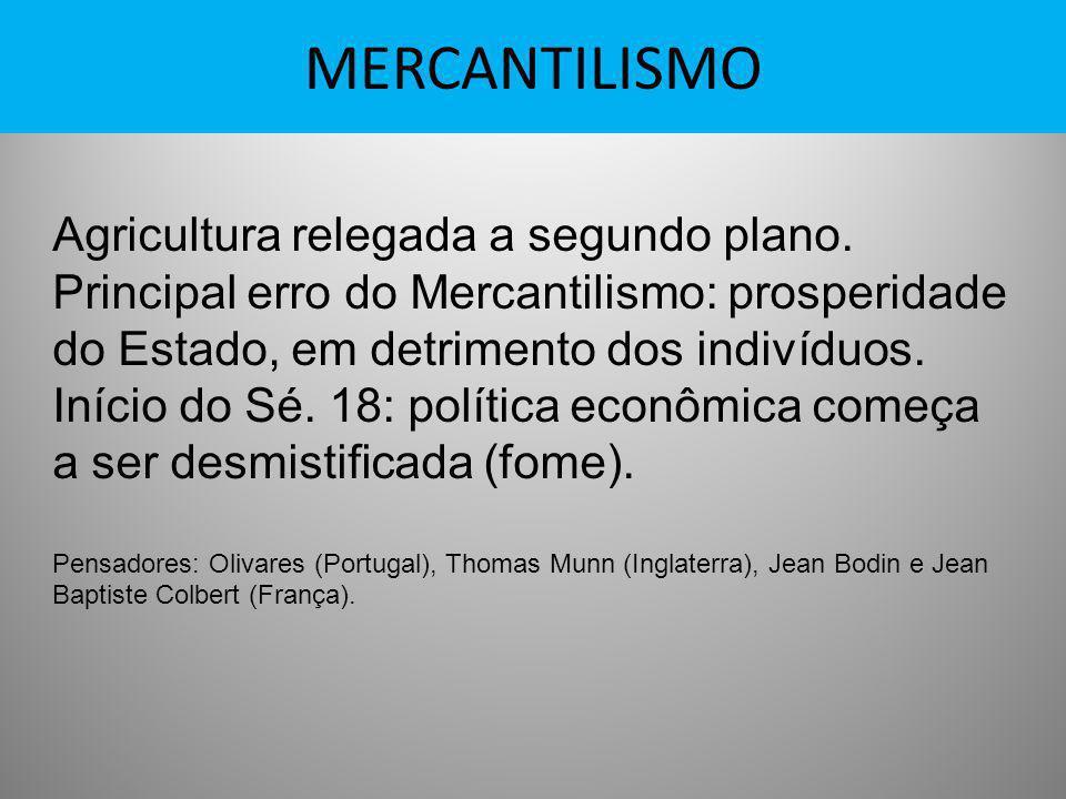 MERCANTILISMO Agricultura relegada a segundo plano.