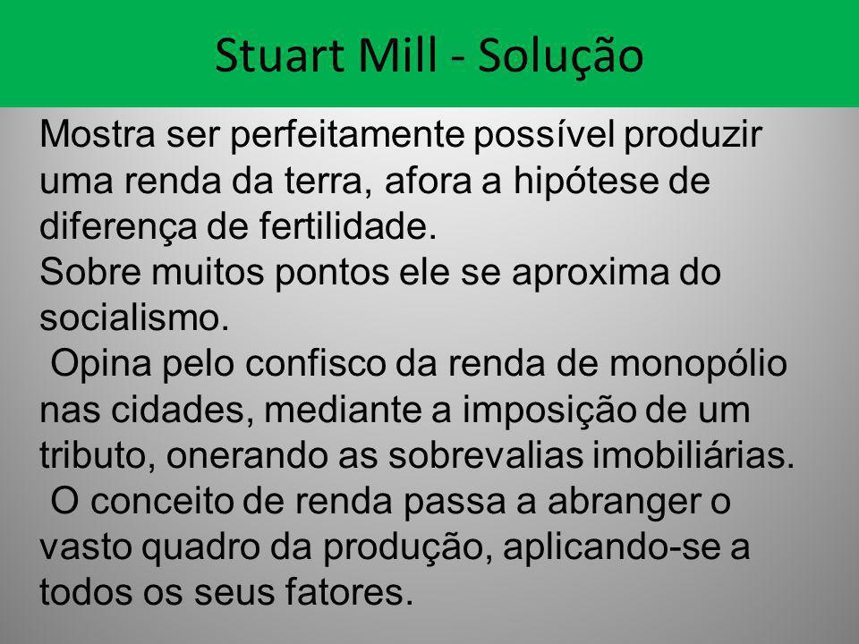 Stuart Mill - Solução Mostra ser perfeitamente possível produzir uma renda da terra, afora a hipótese de diferença de fertilidade.