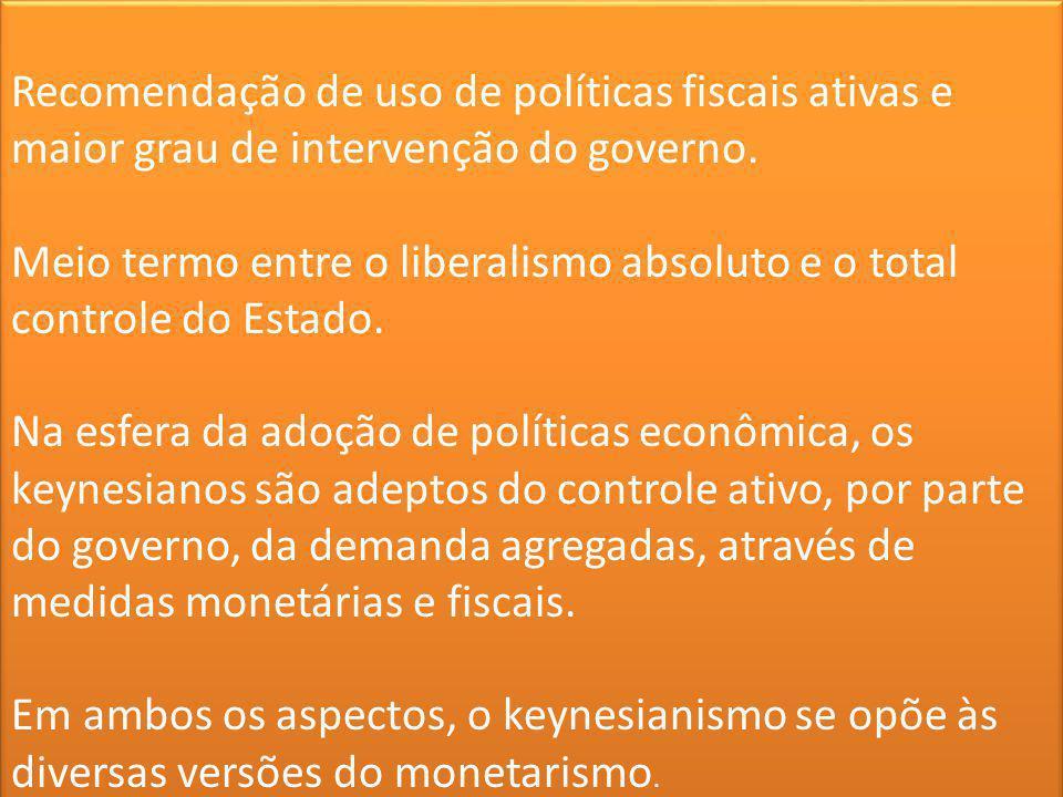 Recomendação de uso de políticas fiscais ativas e maior grau de intervenção do governo.