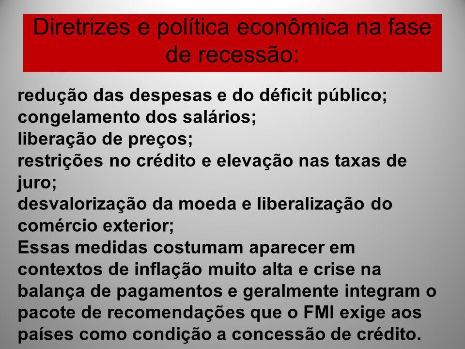 Diretrizes e política econômica na fase de recessão: