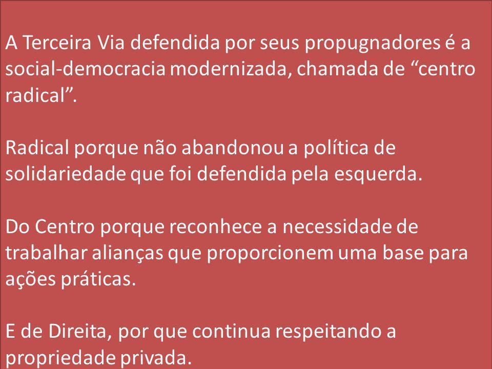 A Terceira Via defendida por seus propugnadores é a social-democracia modernizada, chamada de centro radical .