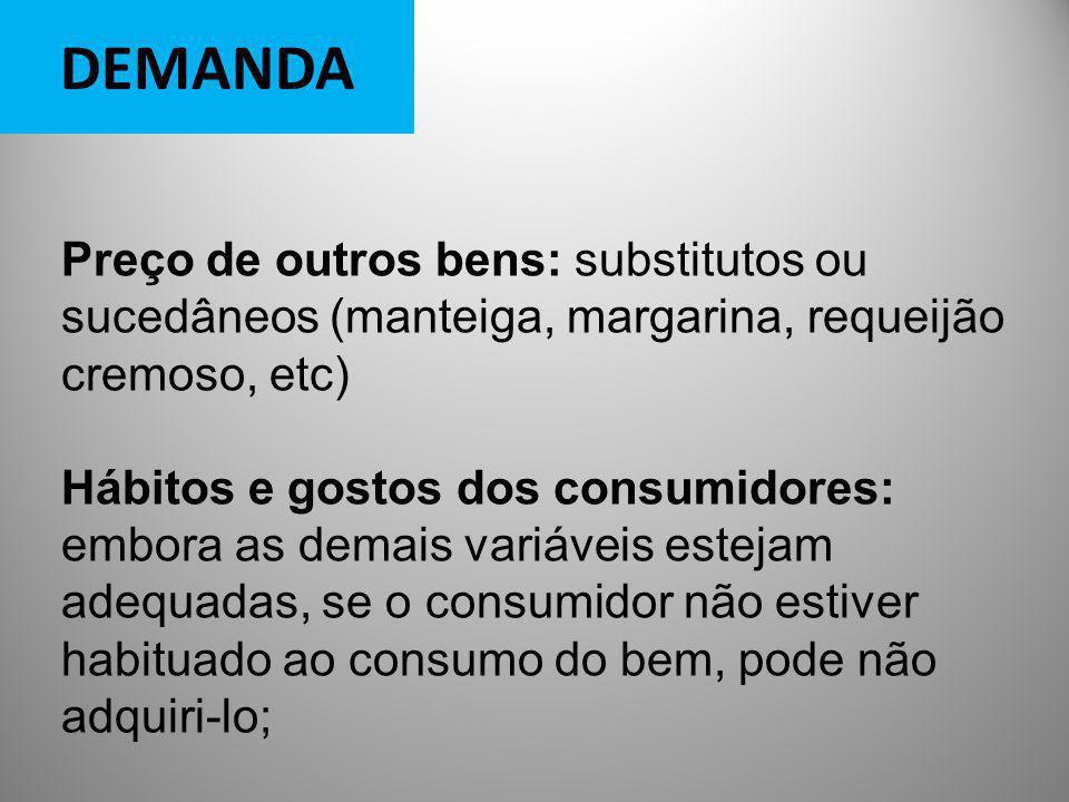DEMANDA Preço de outros bens: substitutos ou sucedâneos (manteiga, margarina, requeijão cremoso, etc)