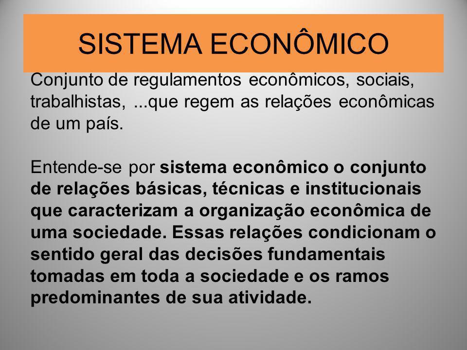 SISTEMA ECONÔMICO Conjunto de regulamentos econômicos, sociais, trabalhistas, ...que regem as relações econômicas de um país.