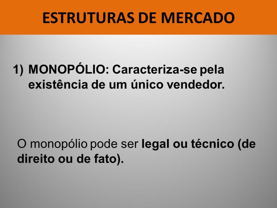 ESTRUTURAS DE MERCADO MONOPÓLIO: Caracteriza-se pela existência de um único vendedor.