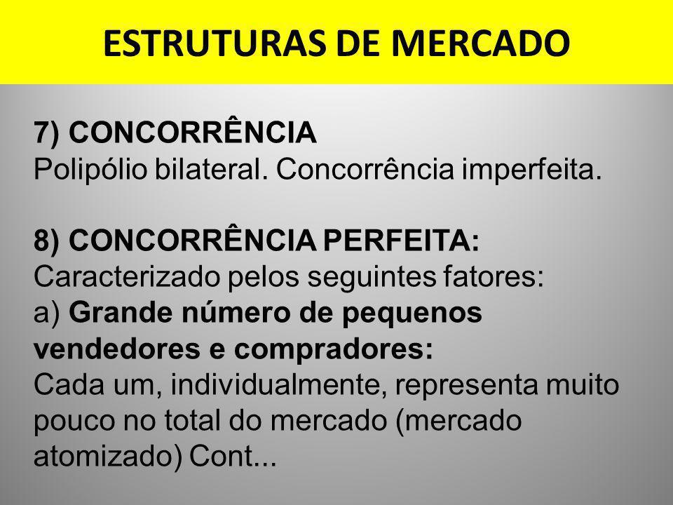 ESTRUTURAS DE MERCADO 7) CONCORRÊNCIA