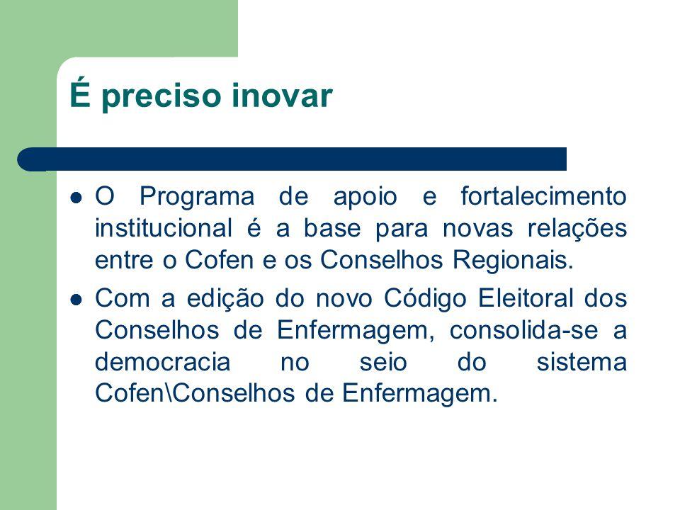 É preciso inovar O Programa de apoio e fortalecimento institucional é a base para novas relações entre o Cofen e os Conselhos Regionais.