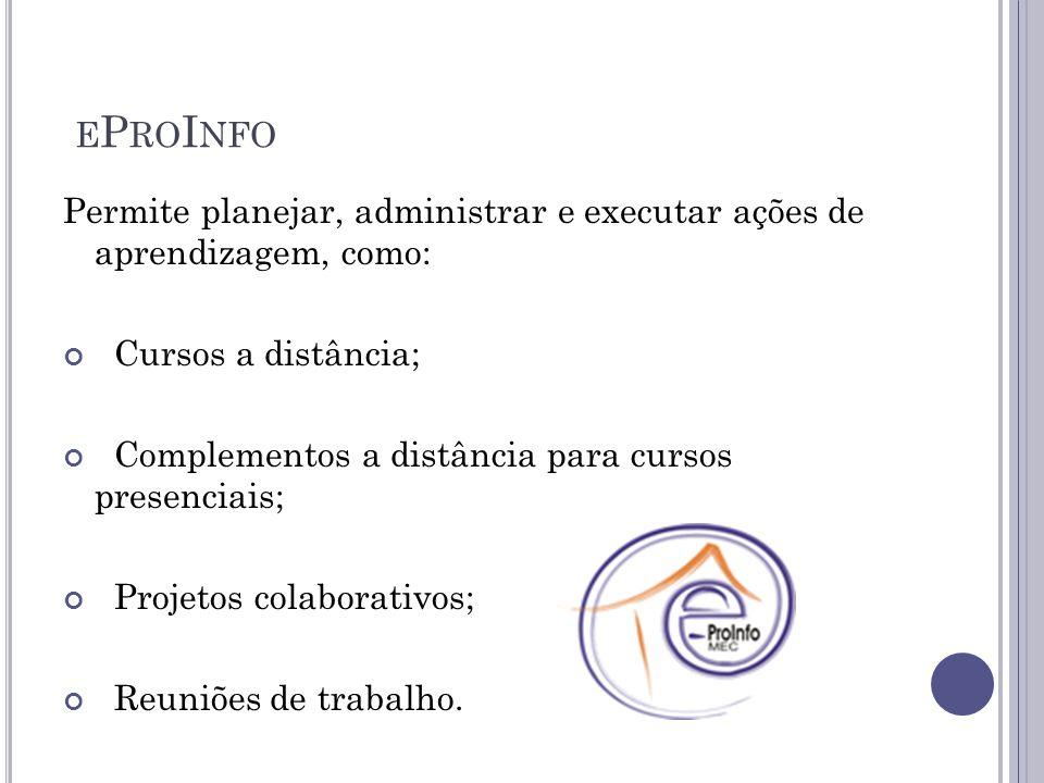 eProInfo Permite planejar, administrar e executar ações de aprendizagem, como: Cursos a distância;