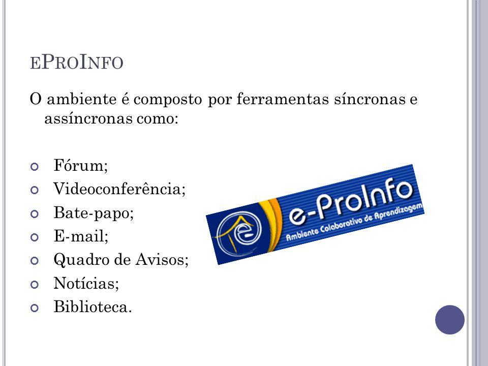 eProInfo O ambiente é composto por ferramentas síncronas e assíncronas como: Fórum; Videoconferência;