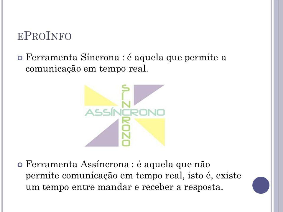 eProInfo Ferramenta Síncrona : é aquela que permite a comunicação em tempo real.
