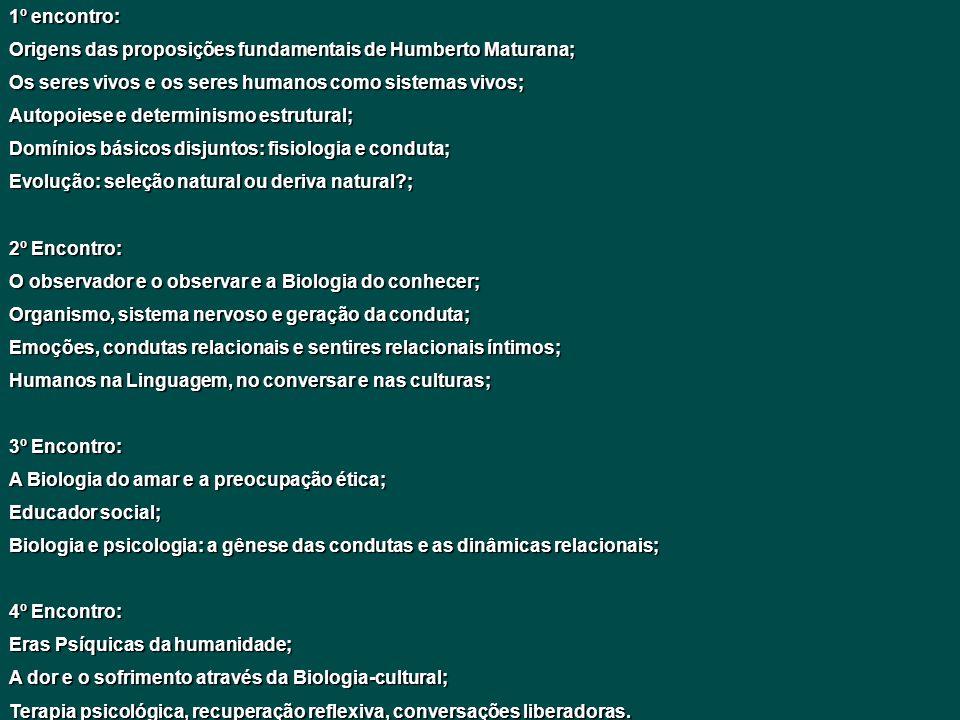 1º encontro: Origens das proposições fundamentais de Humberto Maturana; Os seres vivos e os seres humanos como sistemas vivos;
