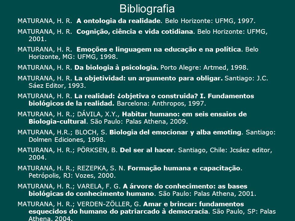 Bibliografia MATURANA, H. R. A ontologia da realidade. Belo Horizonte: UFMG, 1997.