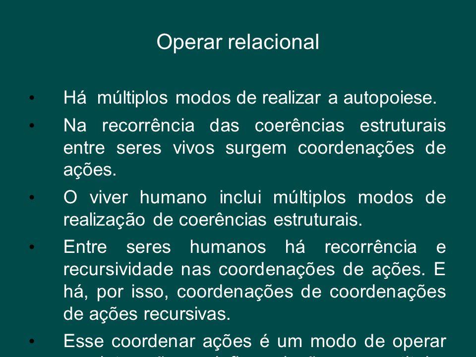 Operar relacional Há múltiplos modos de realizar a autopoiese.
