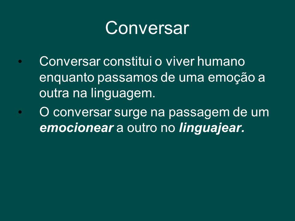 Conversar Conversar constitui o viver humano enquanto passamos de uma emoção a outra na linguagem.