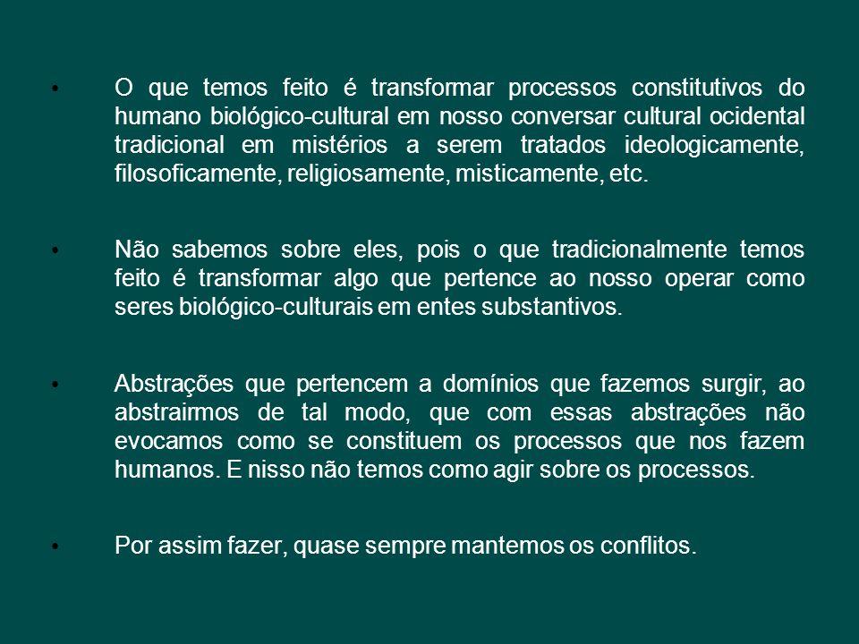 O que temos feito é transformar processos constitutivos do humano biológico-cultural em nosso conversar cultural ocidental tradicional em mistérios a serem tratados ideologicamente, filosoficamente, religiosamente, misticamente, etc.