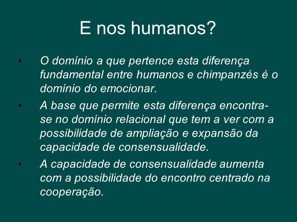 E nos humanos O domínio a que pertence esta diferença fundamental entre humanos e chimpanzés é o domínio do emocionar.