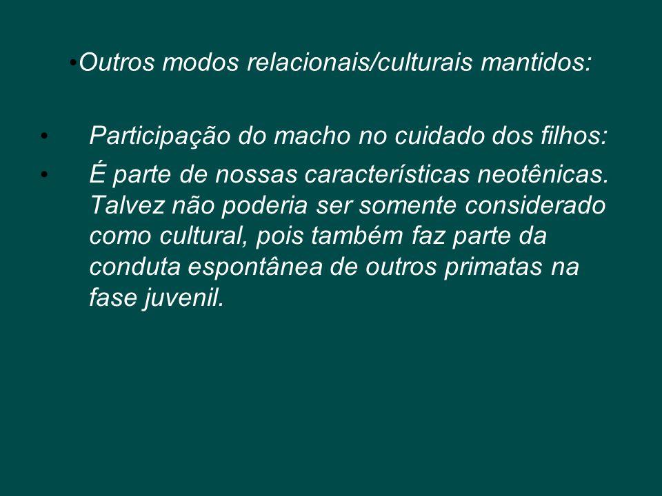 Outros modos relacionais/culturais mantidos:
