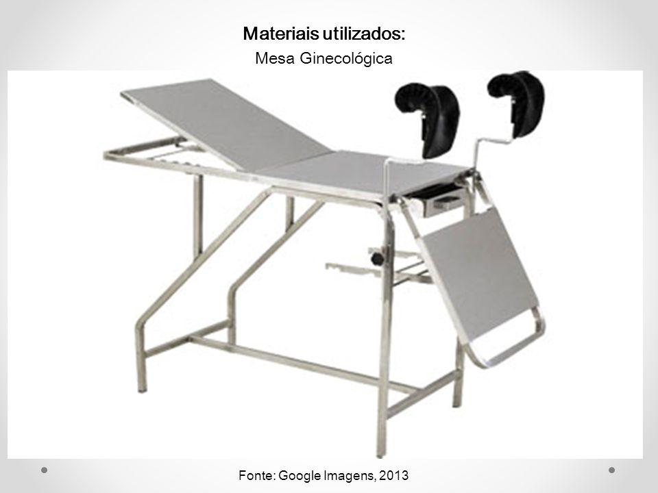 Materiais utilizados: Mesa Ginecológica Fonte: Google Imagens, 2013