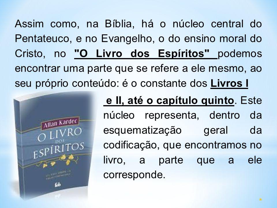 Assim como, na Bíblia, há o núcleo central do Pentateuco, e no Evangelho, o do ensino moral do Cristo, no O Livro dos Espíritos podemos encontrar uma parte que se refere a ele mesmo, ao seu próprio conteúdo: é o constante dos Livros I