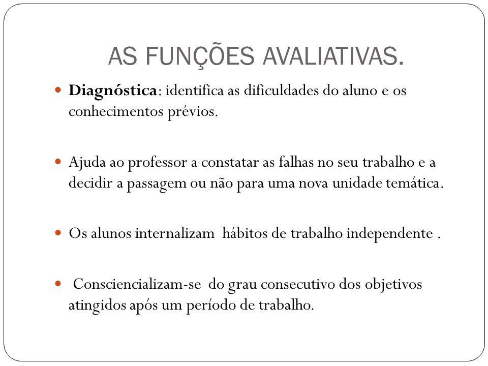 AS FUNÇÕES AVALIATIVAS.