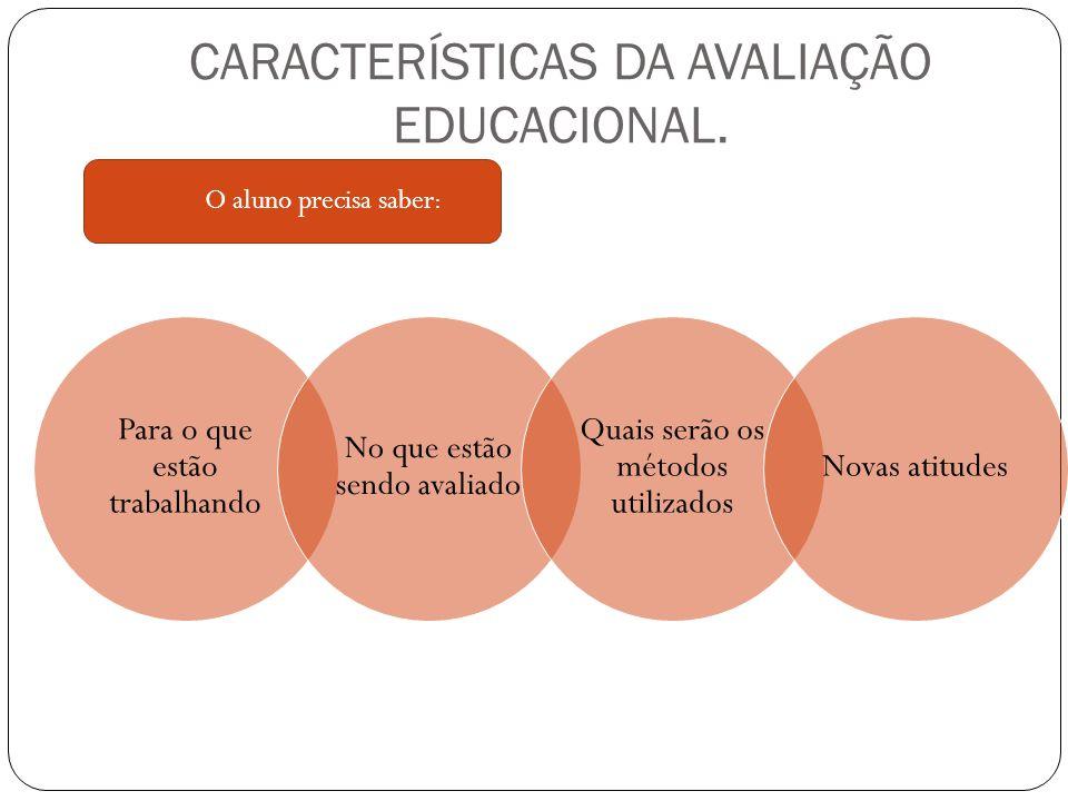 CARACTERÍSTICAS DA AVALIAÇÃO EDUCACIONAL.