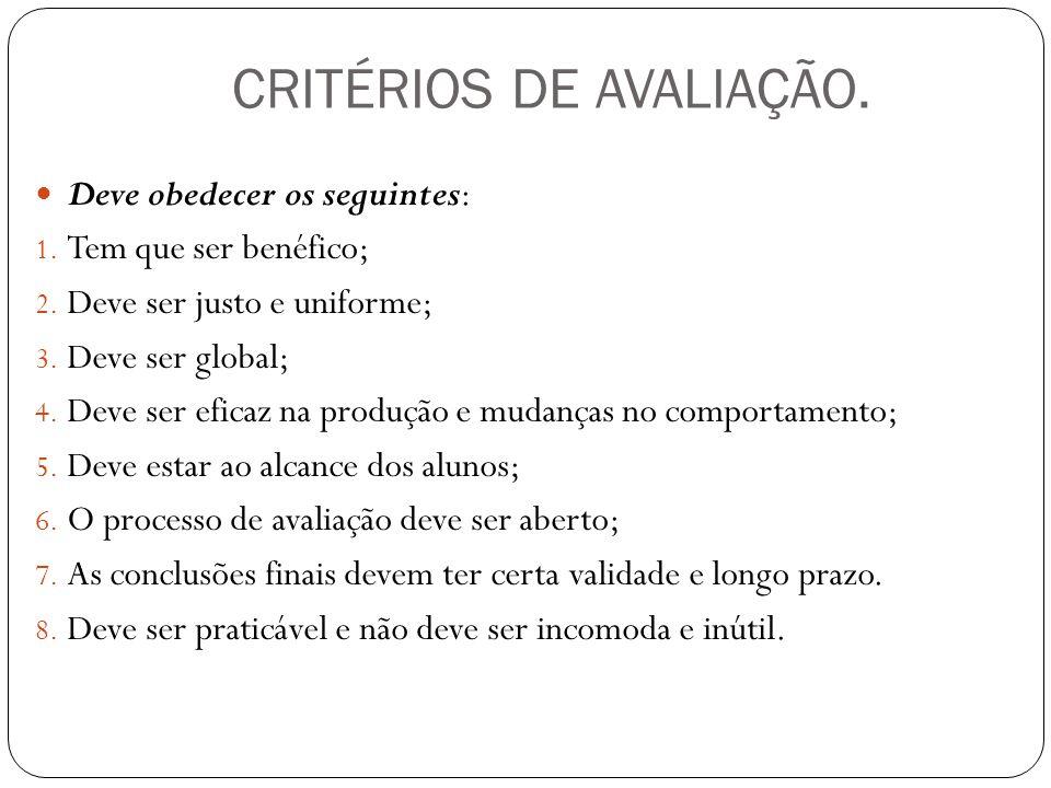 CRITÉRIOS DE AVALIAÇÃO.