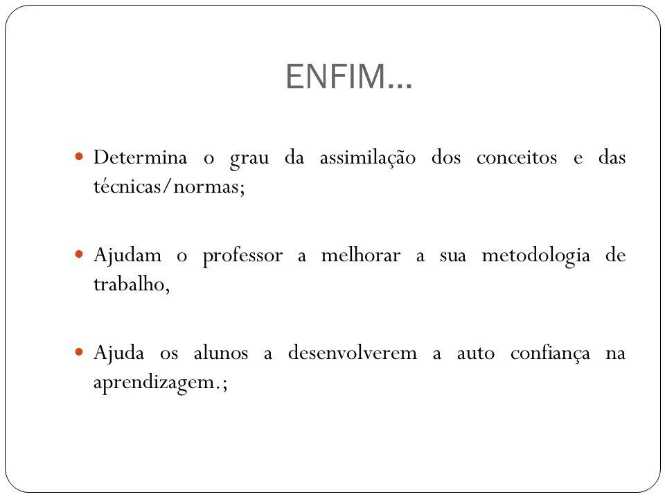 ENFIM... Determina o grau da assimilação dos conceitos e das técnicas/normas; Ajudam o professor a melhorar a sua metodologia de trabalho,
