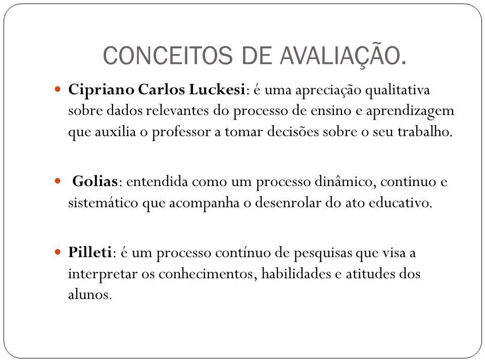 CONCEITOS DE AVALIAÇÃO.