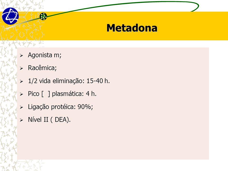 Metadona Agonista m; Racêmica; 1/2 vida eliminação: 15-40 h.
