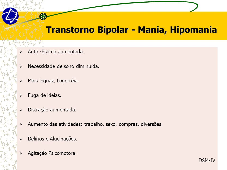 Transtorno Bipolar - Mania, Hipomania