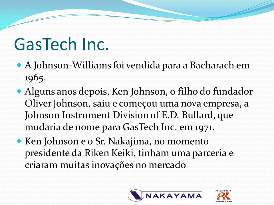 GasTech Inc. A Johnson-Williams foi vendida para a Bacharach em 1965.