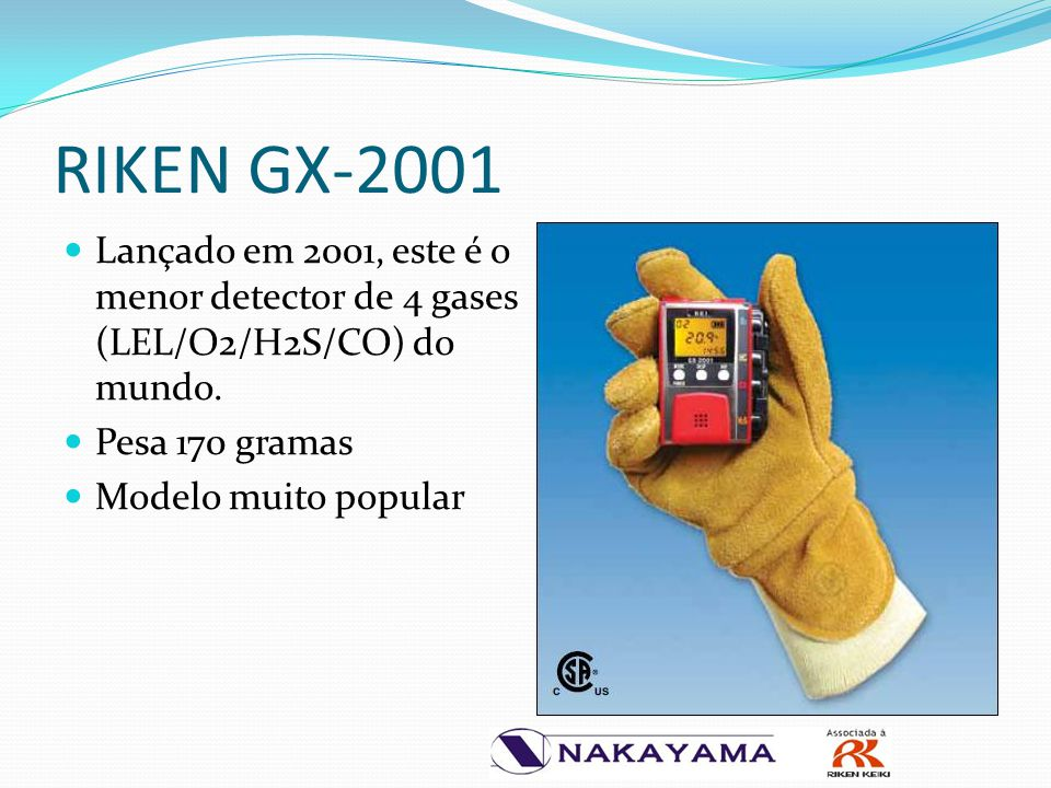 RIKEN GX-2001 Lançado em 2001, este é o menor detector de 4 gases (LEL/O2/H2S/CO) do mundo. Pesa 170 gramas.