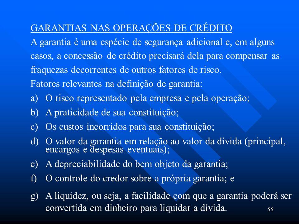 GARANTIAS NAS OPERAÇÕES DE CRÉDITO