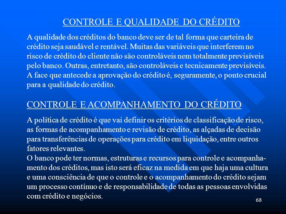 CONTROLE E QUALIDADE DO CRÉDITO