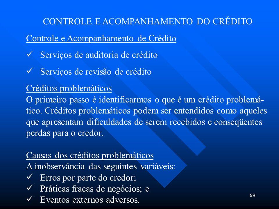 CONTROLE E ACOMPANHAMENTO DO CRÉDITO
