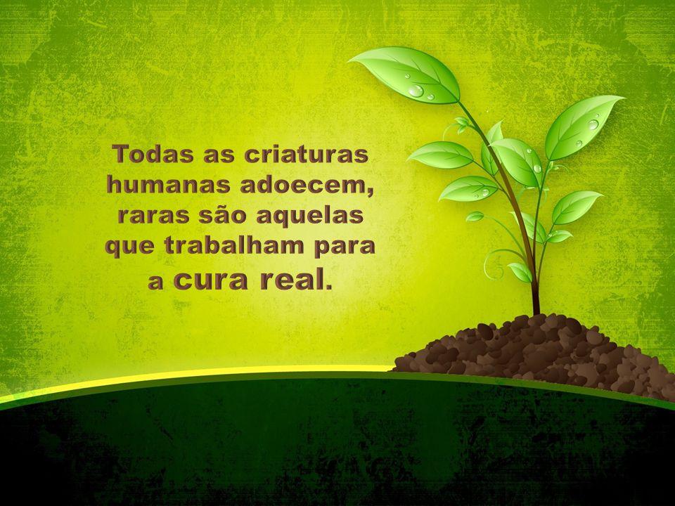 Todas as criaturas humanas adoecem, raras são aquelas que trabalham para a cura real.