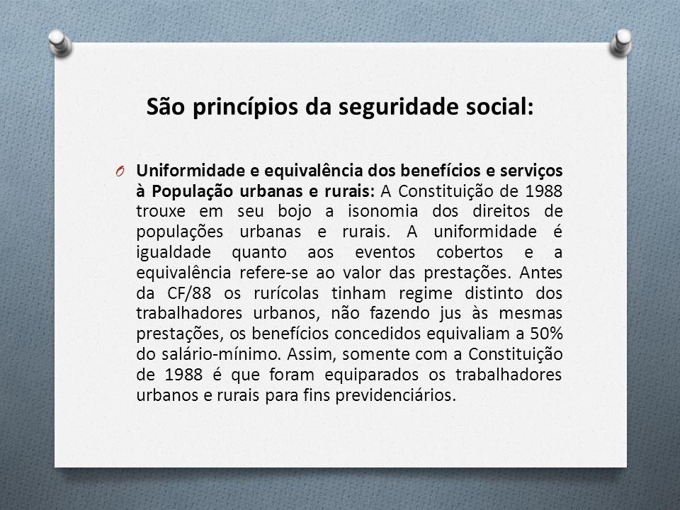 São princípios da seguridade social: