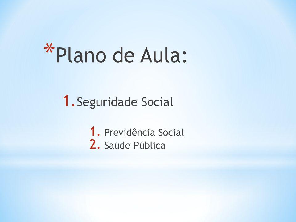 Plano de Aula: Seguridade Social Previdência Social Saúde Pública