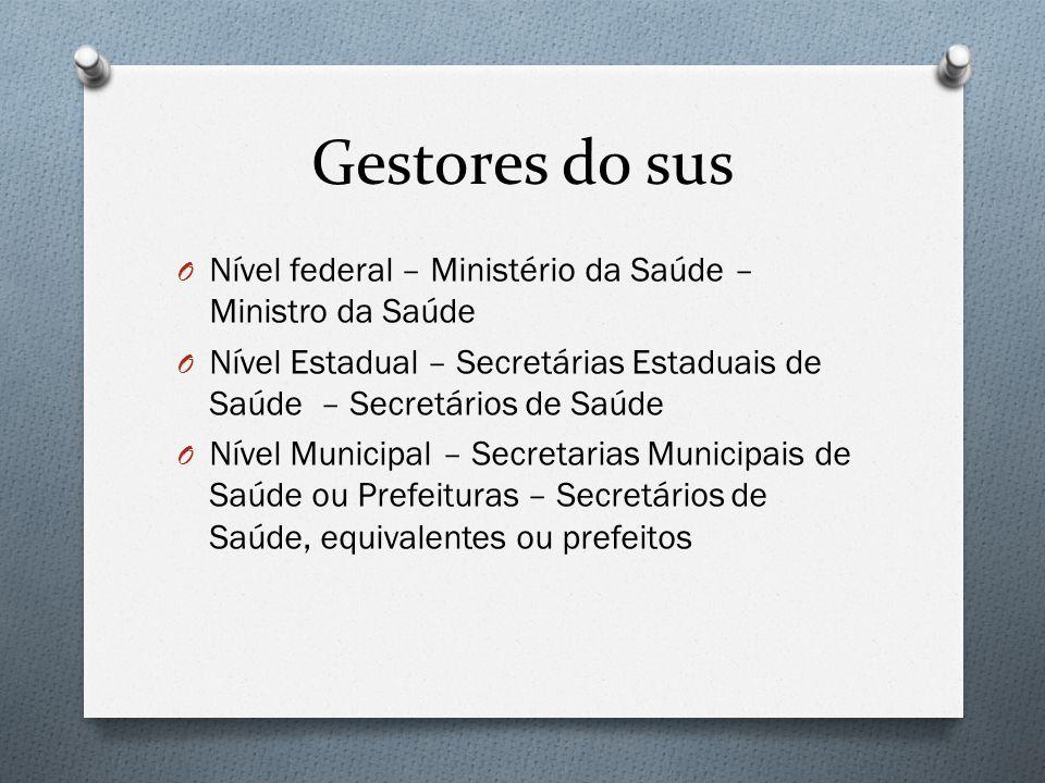 Gestores do sus Nível federal – Ministério da Saúde – Ministro da Saúde. Nível Estadual – Secretárias Estaduais de Saúde – Secretários de Saúde.