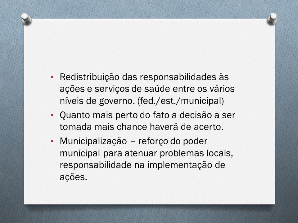 Redistribuição das responsabilidades às ações e serviços de saúde entre os vários níveis de governo. (fed./est./municipal)