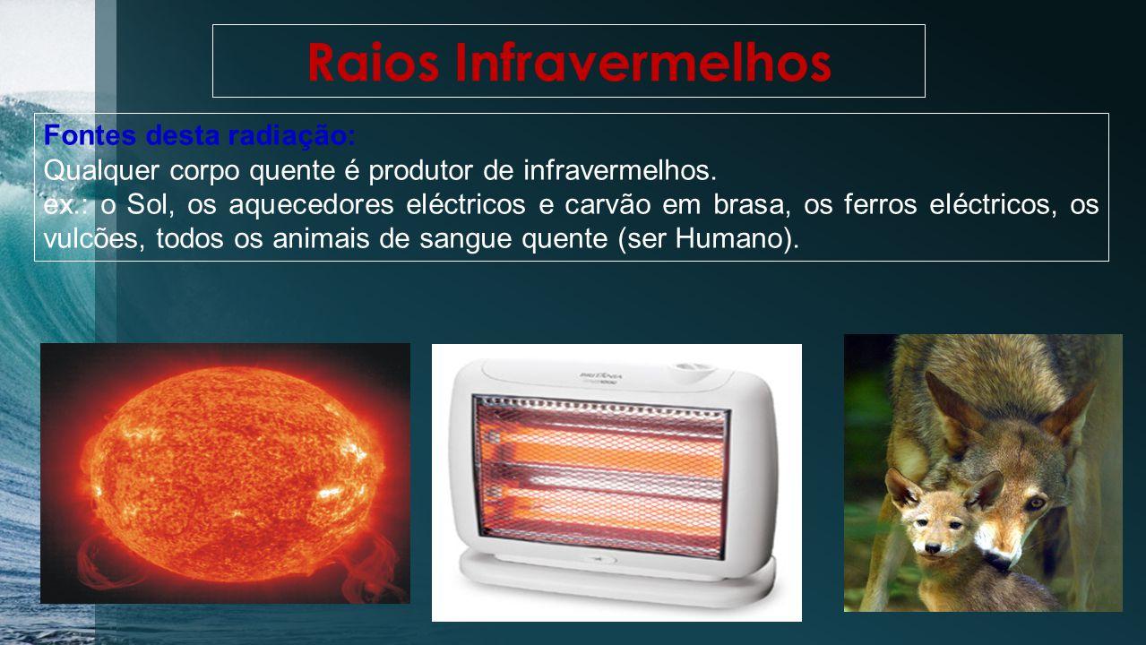 Raios Infravermelhos Fontes desta radiação: