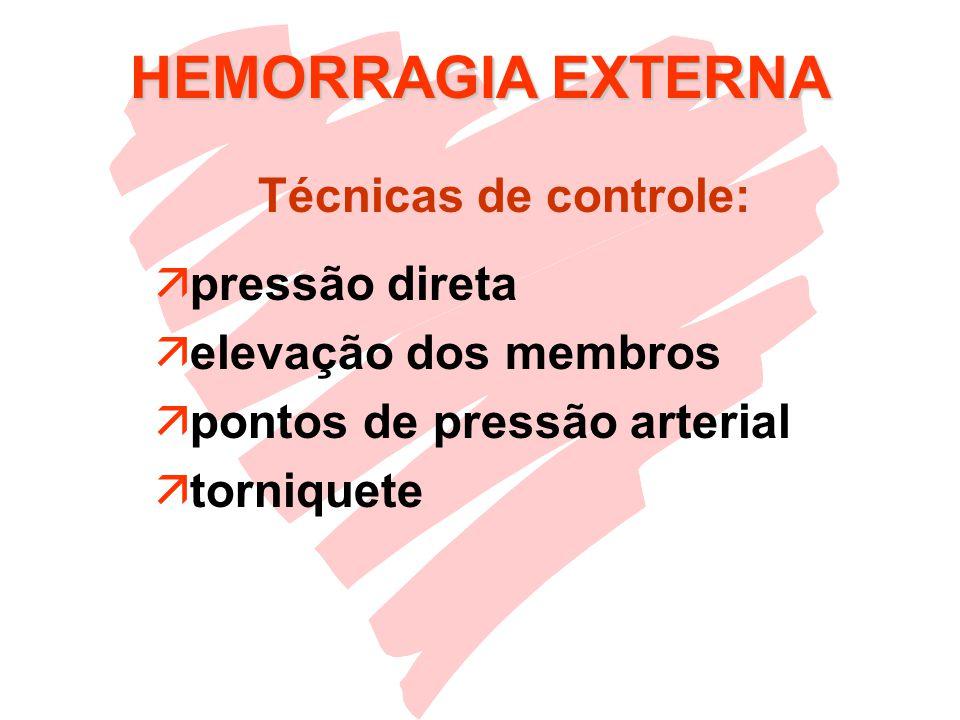 HEMORRAGIA EXTERNA Técnicas de controle: pressão direta
