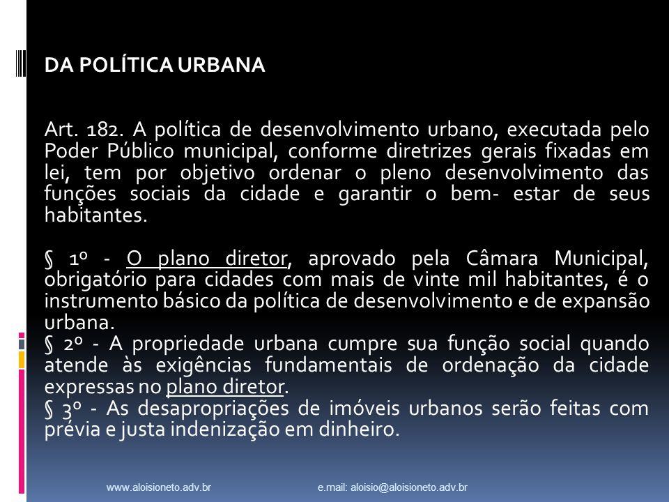 DA POLÍTICA URBANA