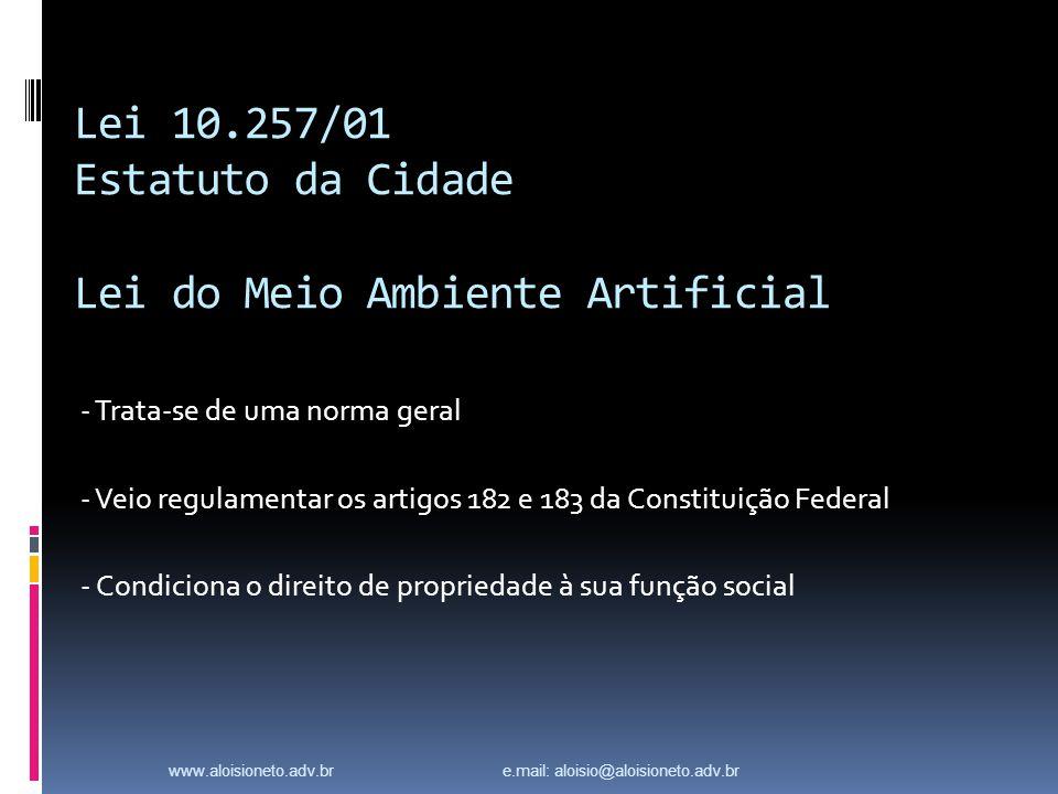 Lei 10.257/01 Estatuto da Cidade Lei do Meio Ambiente Artificial