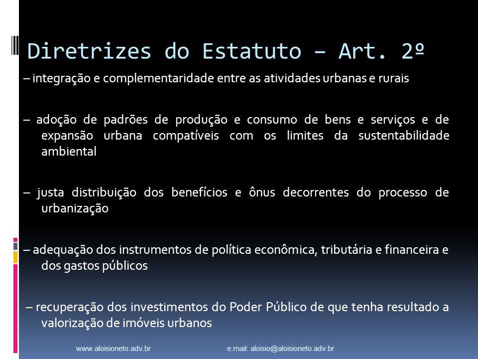 Diretrizes do Estatuto – Art. 2º