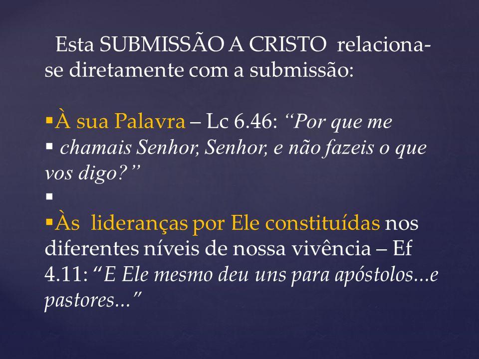 Esta SUBMISSÃO A CRISTO relaciona-se diretamente com a submissão: